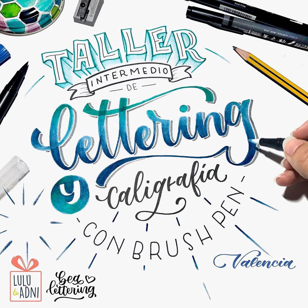 taller lettering intermedio Valencia brush pen luluyadni