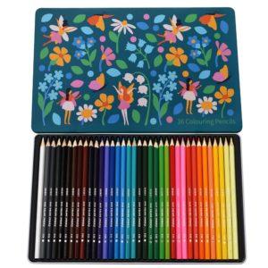 Caja Metálica Lápices de colores hadas