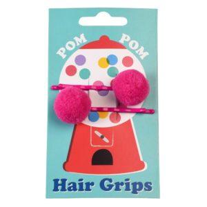 Pinzas para el pelo Pom Pom Rosa 1